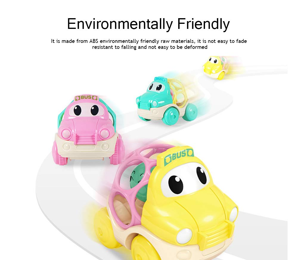 Baby Soft Rubber Inertia Toy Car, Rattle Car Toy for 6-12 Months Baby 2
