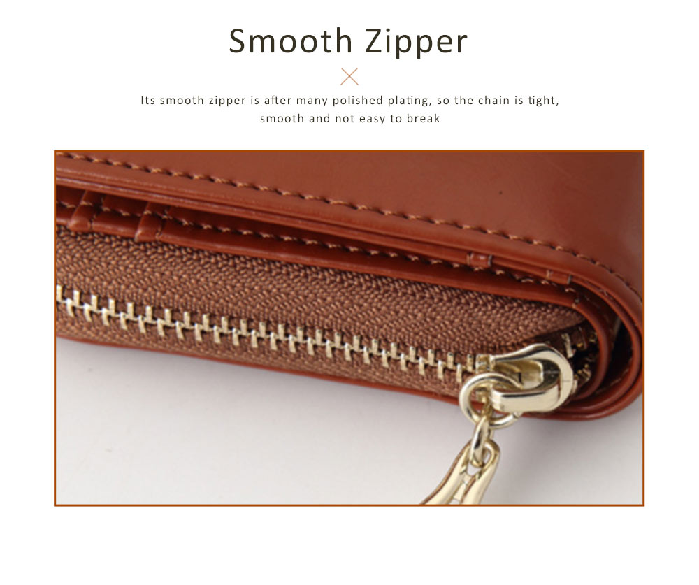 Fashion Oil Wax Leather Wallet for Female Long Zipper Phone Case 2019 4