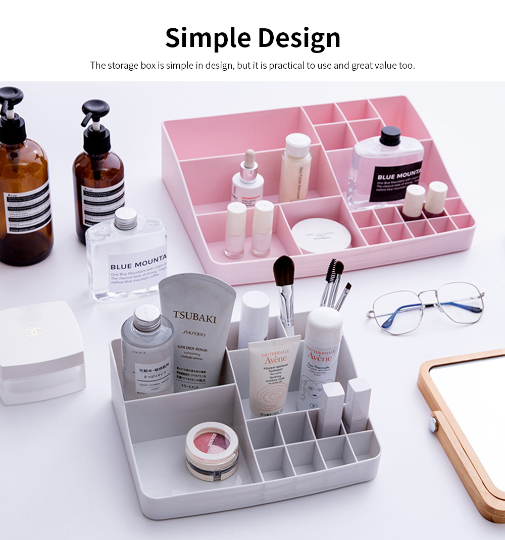 Makeup Holder Case Box with 13 Compartments, Simple Plastic Desktop Case for Cosmetic Skin Care Product Lipstick 1