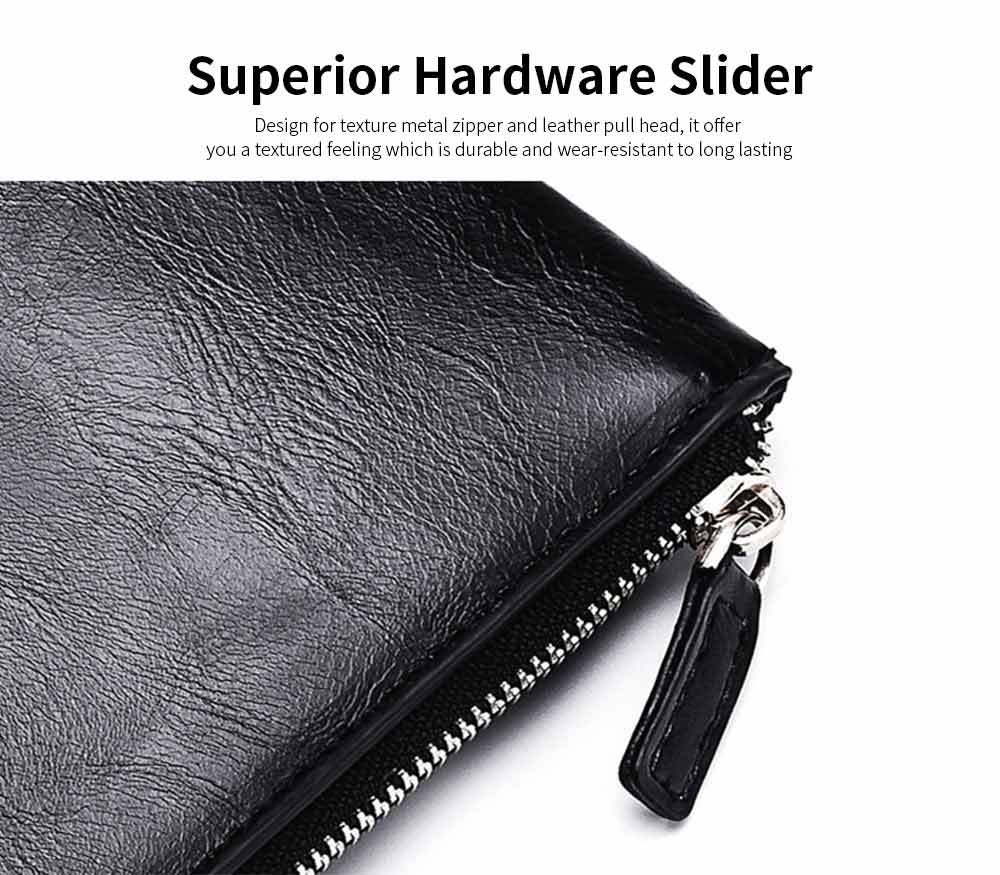 Best Mens Long Bifold Wallet, Genuine Leather Ultra-Thin Zipper Wallet For Mobile Phone 9