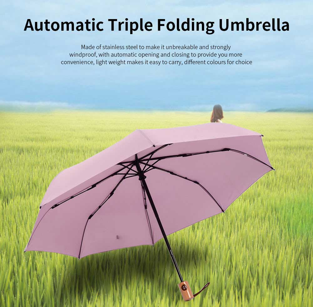 Automatic Open Close Umbrella, Triple Folding Umbrella With Strong Windproof 0