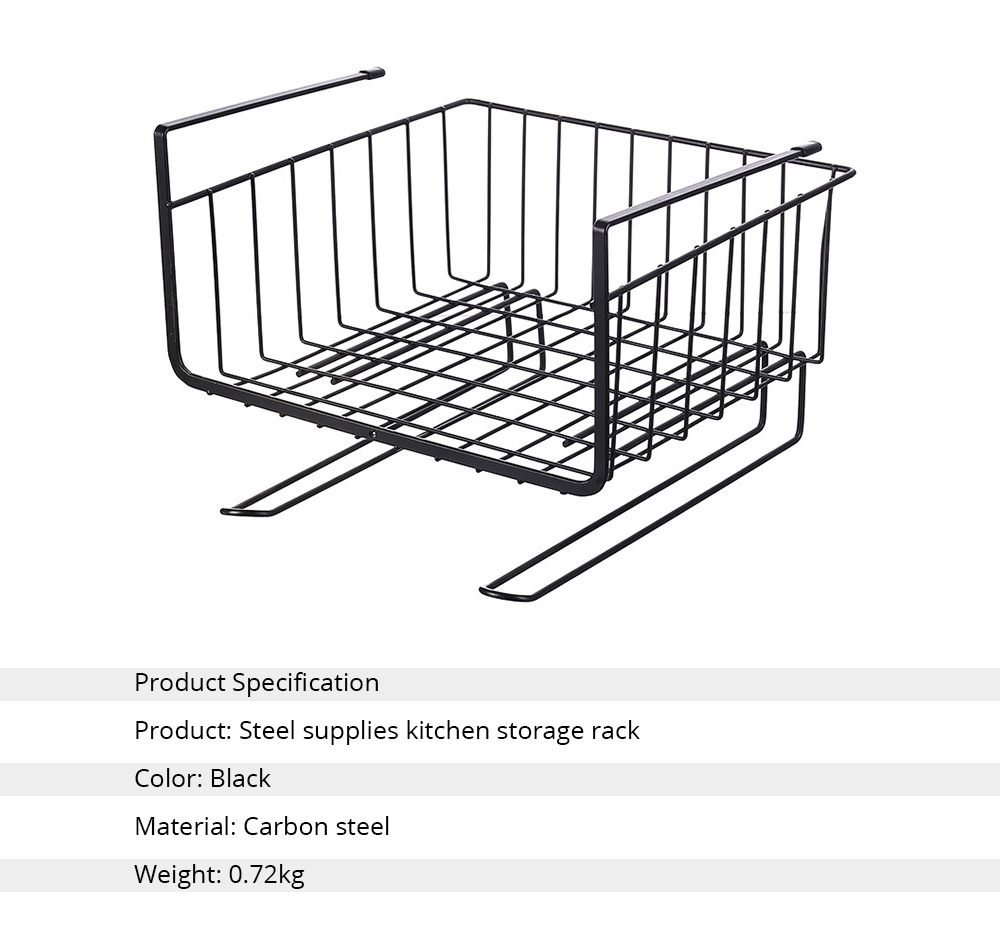 Cabinet Hanging Basket Hanger, Carbon Steel Kitchen Storage Rack, Embedded Suspension Storage Shelf 5