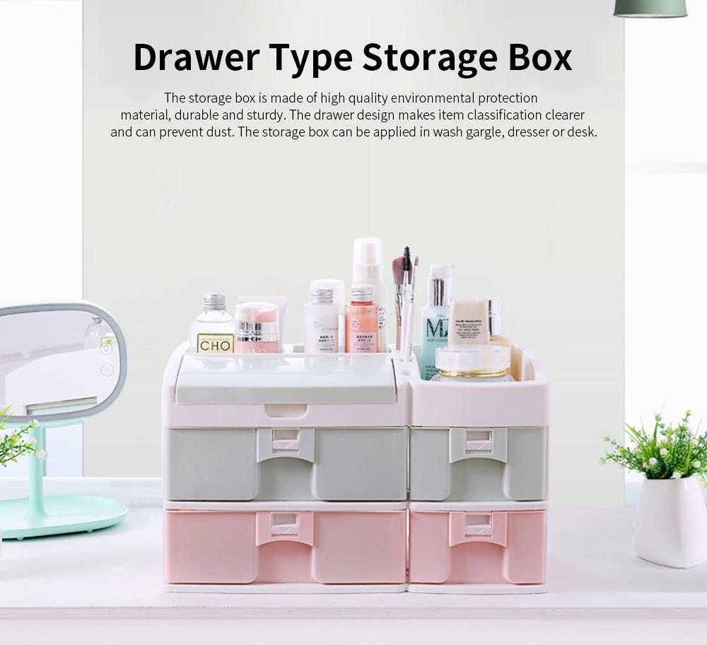 Desktop Dresser Jewelry Lipstick Makeup Organizer Holder, Drawer Type Storage Box for Cosmetic Skin Care Stuff 0