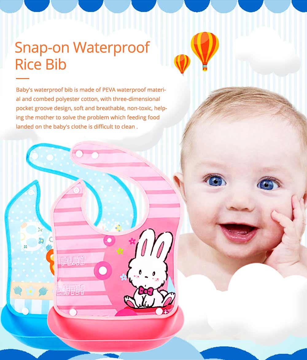 Waterproof Baby Bibs with Snaps Buttons, Silicone Baby's Eating Saliva Bib for Girls and Boys 0