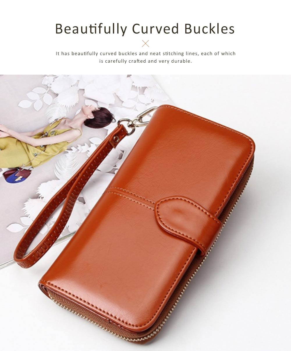 Fashion Oil Wax Leather Wallet for Female Long Zipper Phone Case 2019 2