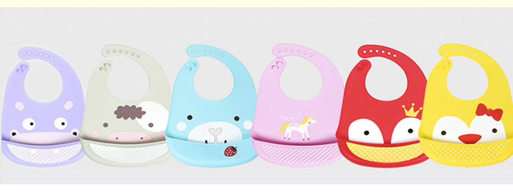 Baby Bib With Food Pocket, Breathable 6-Button Silicone Eating Bib 9