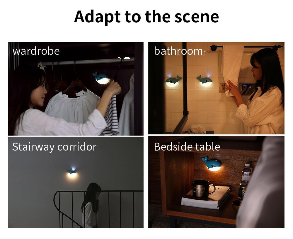 Mini Blue Whale Body Sensor Light, Creative USB Charging Intelligent Light, Bedside Led Night Light 8