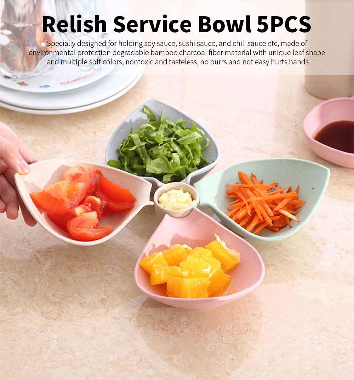 4 Bowl Relish Server, Service Bowl With Cup for Fruits, Snack, Dessert, Sauce, Vinegar Flavor Bowl 0
