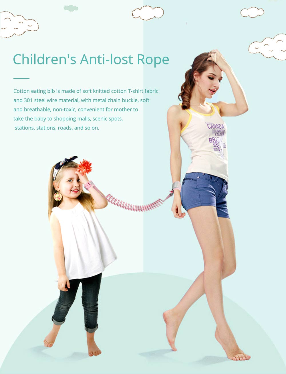 Child Anti Lost Wrist Link Traction Rope Bracelet Safety Harness with Strong and Tough Pulling 0