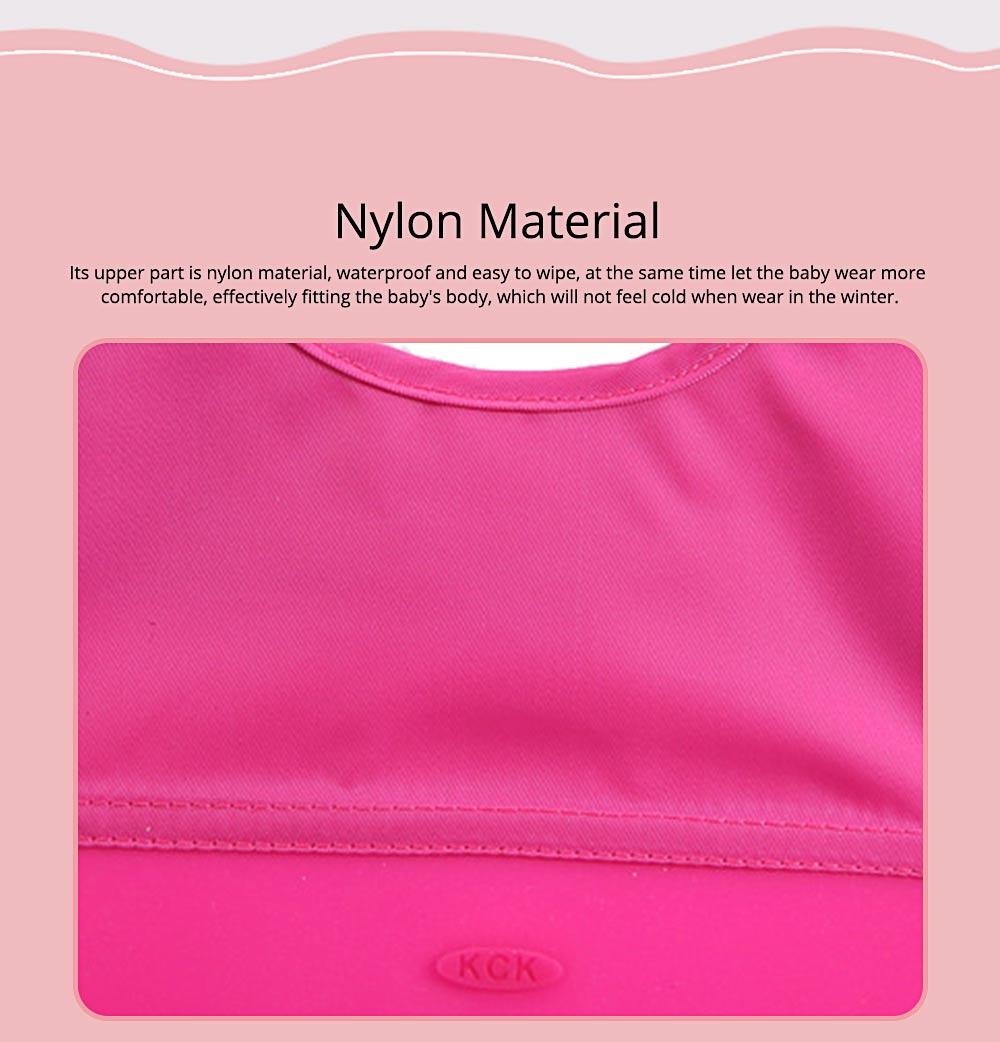 Baby Nylon Upper Waterproof Bib, Large Three-dimensional Soft Silicone Children's Eating Pocket Bib 1