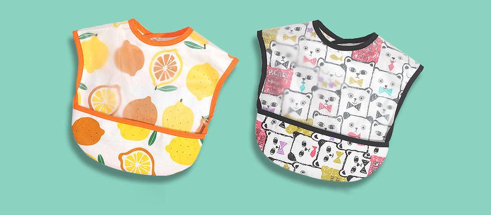 Cotton Baby Eating Bib with Hidden Type Rice Bag, Eva Cartoon Waterproof Disposable Baby's Bib 11