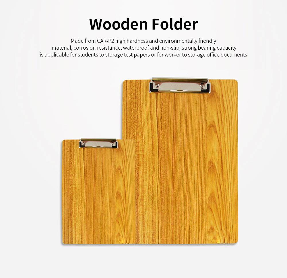 A4 Wooden File Folder, Wooden Board Notepad Desktop Document Holder 0