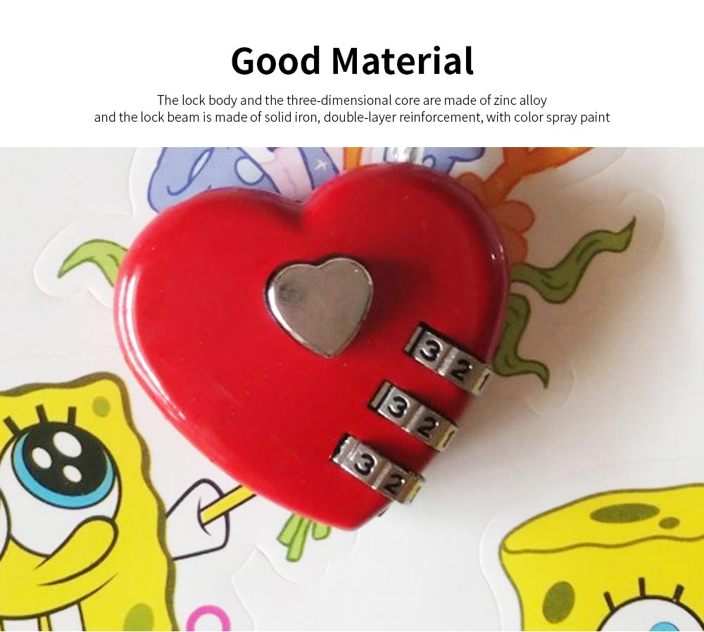 Hot Selling Mini Couple Luggage Lock, Heart Shaped Gift Lock, Love Wire Rope Password Lock 3