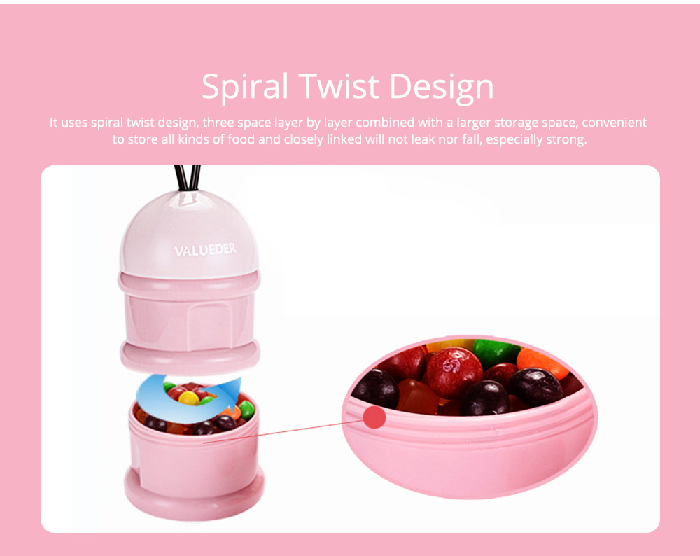 Baby Portable 3-layer Milk Powder Box with Wristband and Spiral Twist Design 2