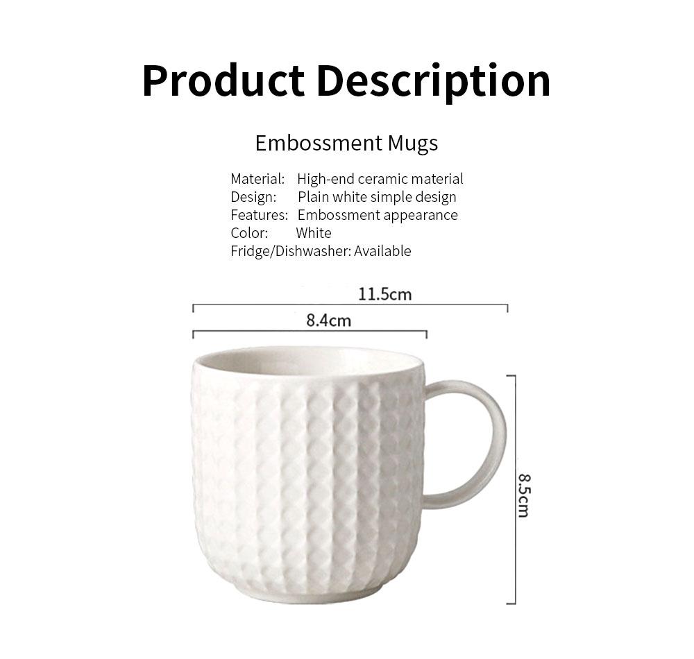 Ceramic Embossed Mugs, Plain Color Porcelain Coffee Mugs For Household Coffee Shop Bookshop Restaurant 6