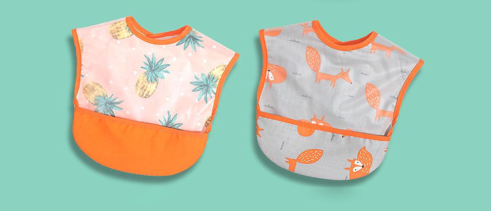 Cotton Baby Eating Bib with Hidden Type Rice Bag, Eva Cartoon Waterproof Disposable Baby's Bib 10