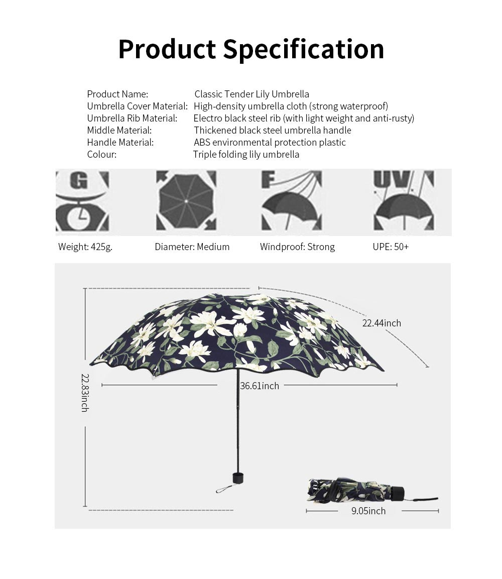 Triple Folding Windproof Travel Umbrella, Anti-Uv Sun Classic Tender Lily Umbrella 6