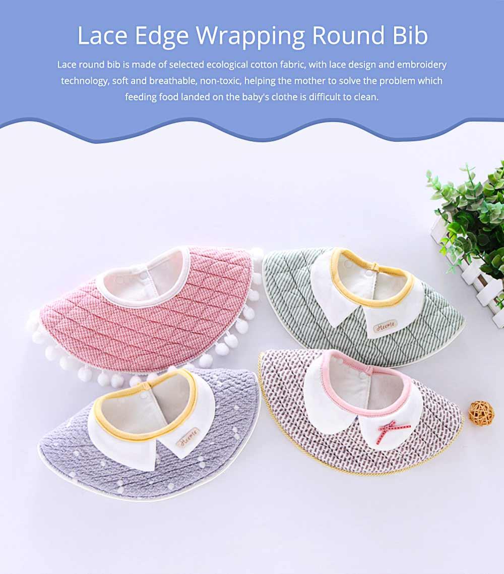 360° Rotating Children's Saliva Towel, Nature Cotton Fabric Lace Round Bib 0