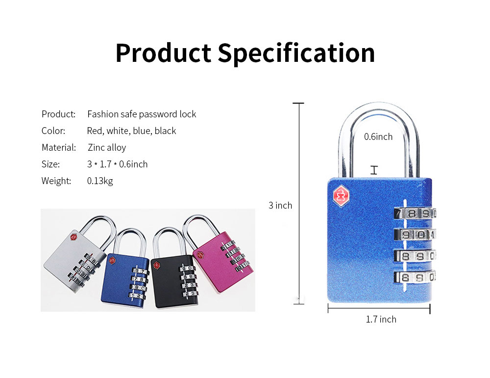 Zinc Alloy Password Lock For Suitcase, Gym Student Dormitory Drawer Cabinet Anti-Theft Password Lock 6