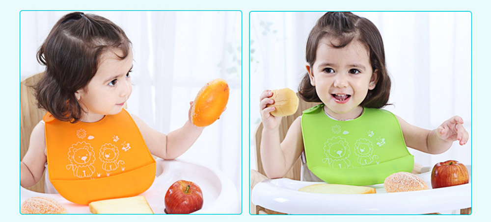 Three-dimensional Pocket Groove Baby's Bib, Waterproof Disposable Rice Bib with 6-button Design 2