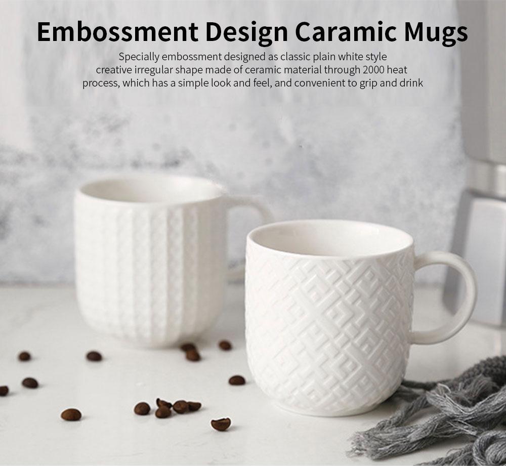 Ceramic Embossed Mugs, Plain Color Porcelain Coffee Mugs For Household Coffee Shop Bookshop Restaurant 0