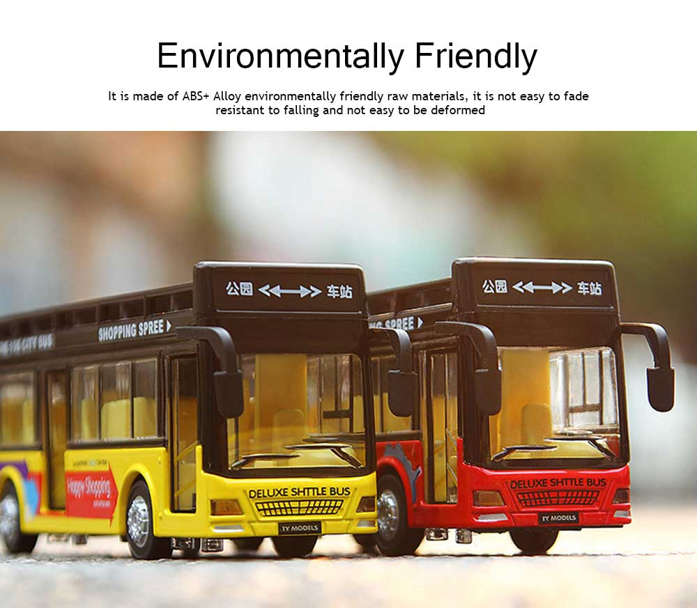 City Bus Model Toy Car, Simulation Alloy Model Toy Coach for Children 2