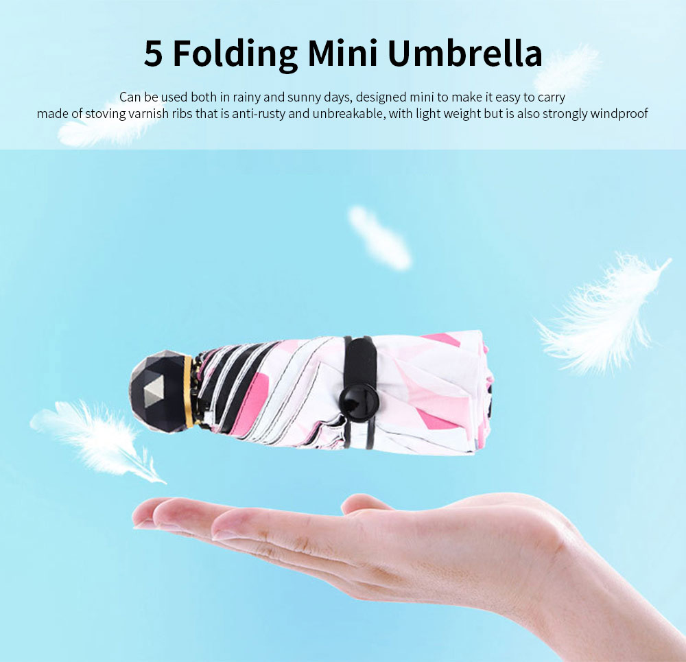 5 Folding Umbrella With Light Weight, Anti-UV Umbrella  For Rainy And Sunny Days 0
