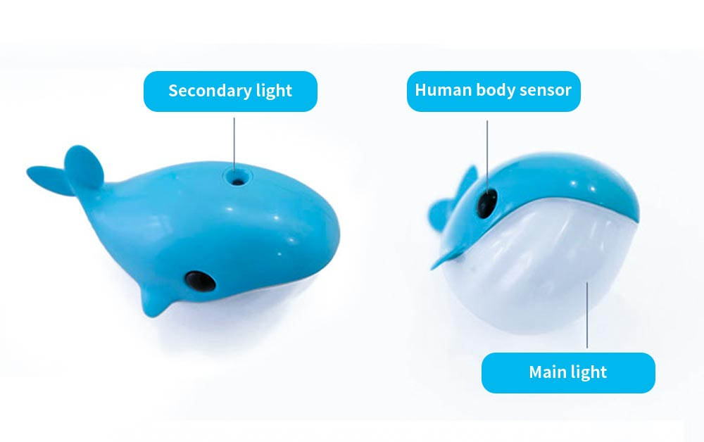 Mini Blue Whale Body Sensor Light, Creative USB Charging Intelligent Light, Bedside Led Night Light 6