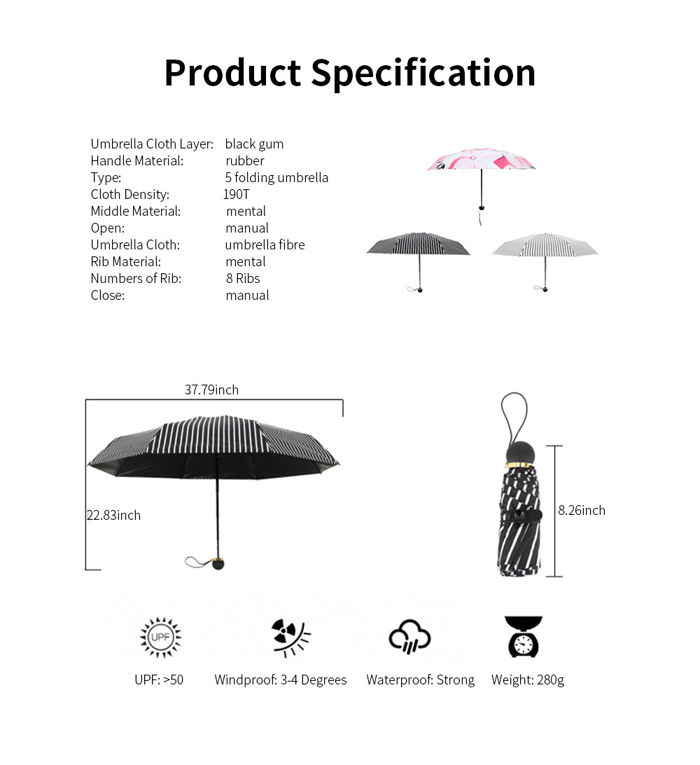 5 Folding Umbrella With Light Weight, Anti-UV Umbrella  For Rainy And Sunny Days 6