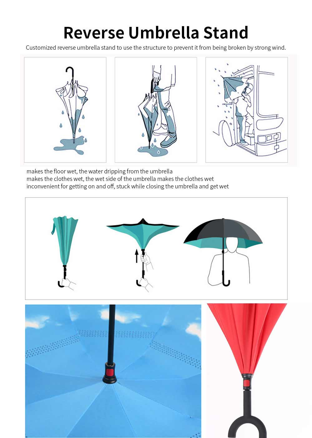 Reverse Double Layer Inverted Umbrella, Inside Out Umbrella With Strong Windproof and C Shape Handle 1