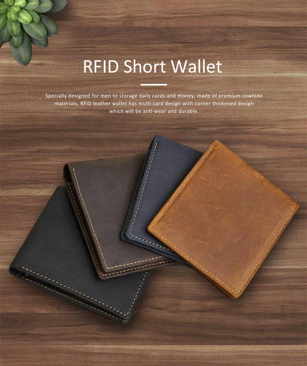 Men's Leather Short Wallet with RFID, Wear-resistant Fashion Casual Purse with Multi-cards 0