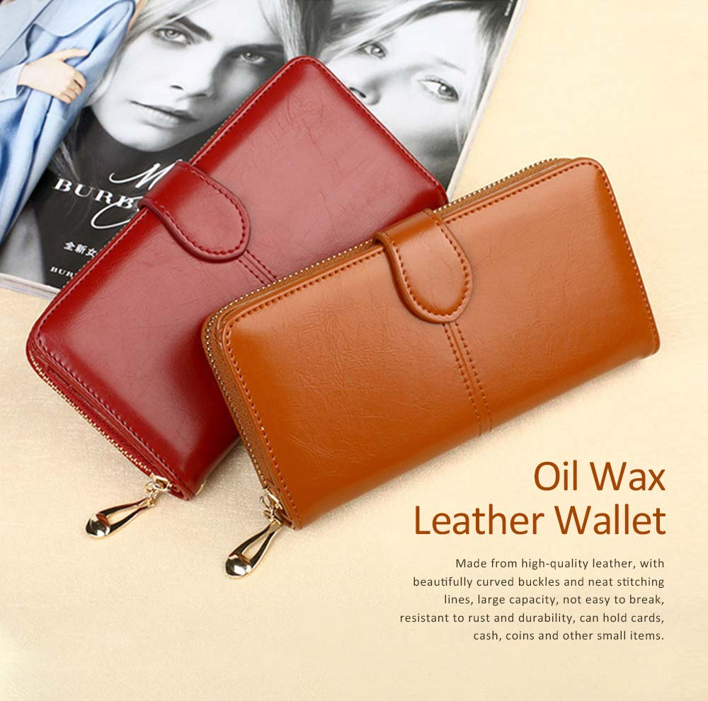 Fashion Oil Wax Leather Wallet for Female, Long Zipper Phone Case 2019 7