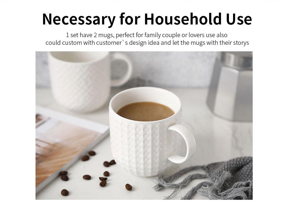 Ceramic Embossed Mugs, Plain Color Porcelain Coffee Mugs For Household Coffee Shop Bookshop Restaurant 1
