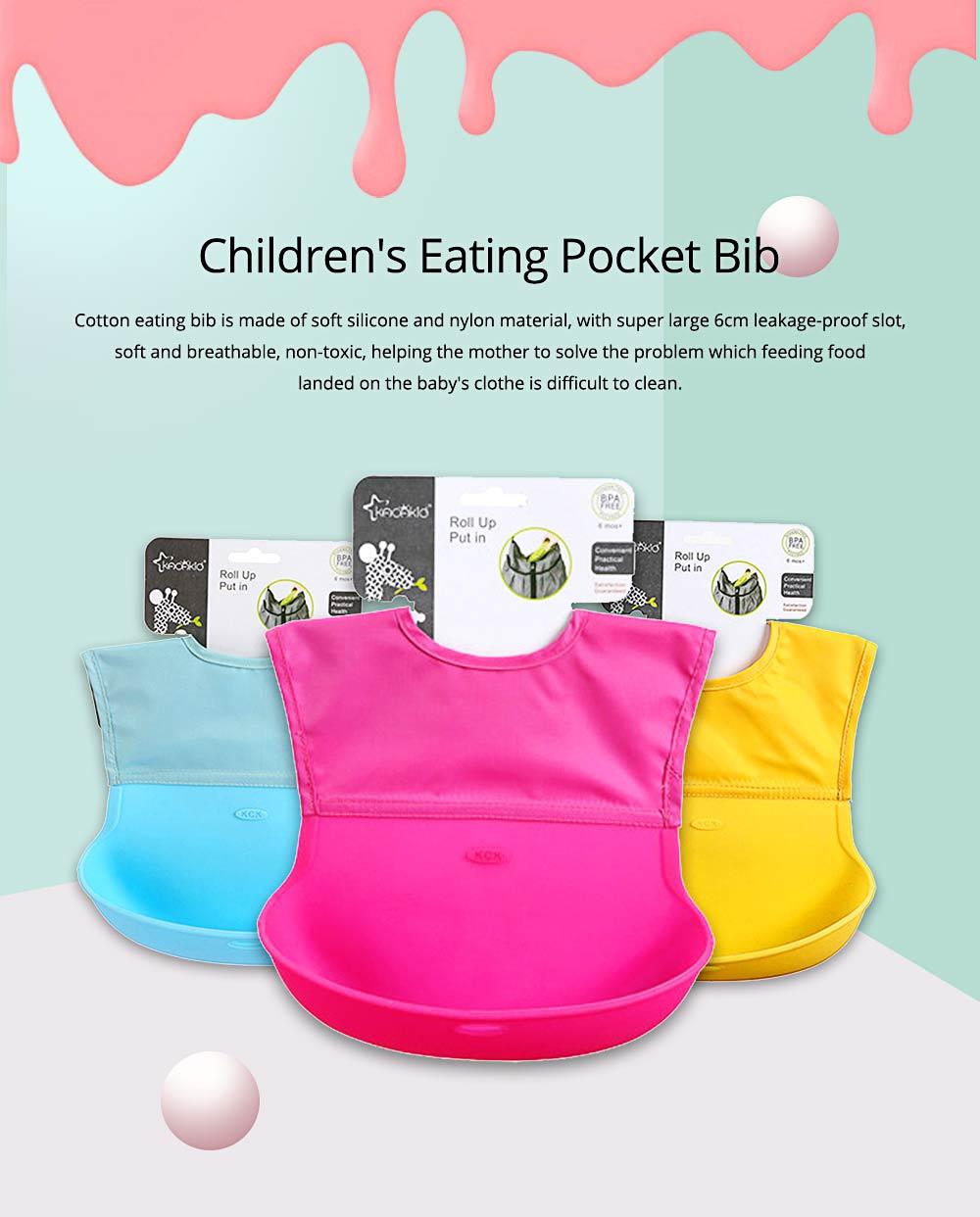Baby Nylon Upper Waterproof Bib, Large Three-dimensional Soft Silicone Children's Eating Pocket Bib 0