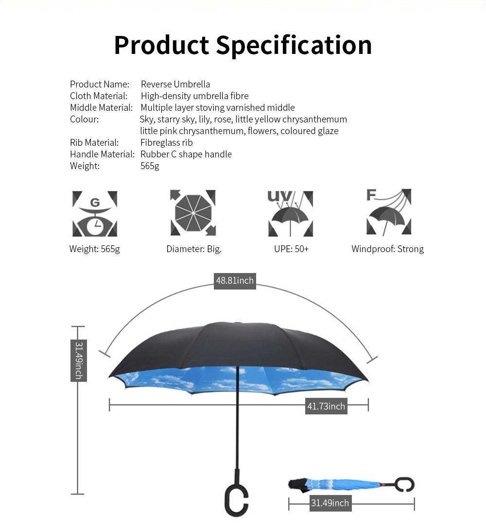 Reverse Double Layer Inverted Umbrella, Inside Out Umbrella With Strong Windproof and C Shape Handle 6
