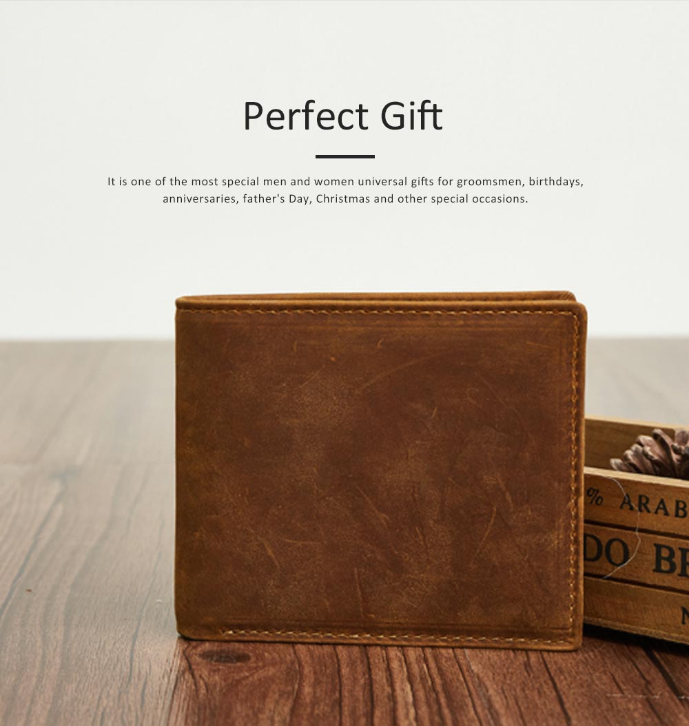 Men's Leather Short Wallet with RFID, Wear-resistant Fashion Casual Purse with Multi-cards 1