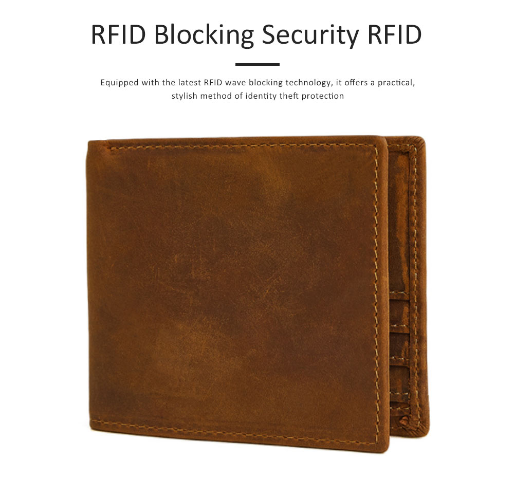 Men's Leather Short Wallet with RFID, Wear-resistant Fashion Casual Purse with Multi-cards 12