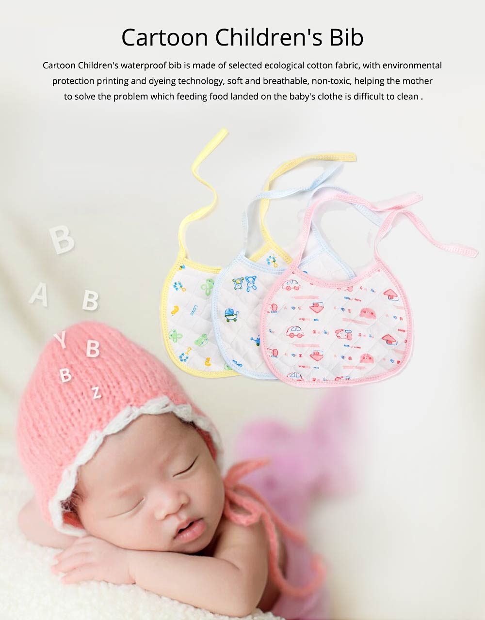 10 PCS Cartoon Baby Bib, Baby Ecological Cotton Fabric Bib With Adjustable Band 0