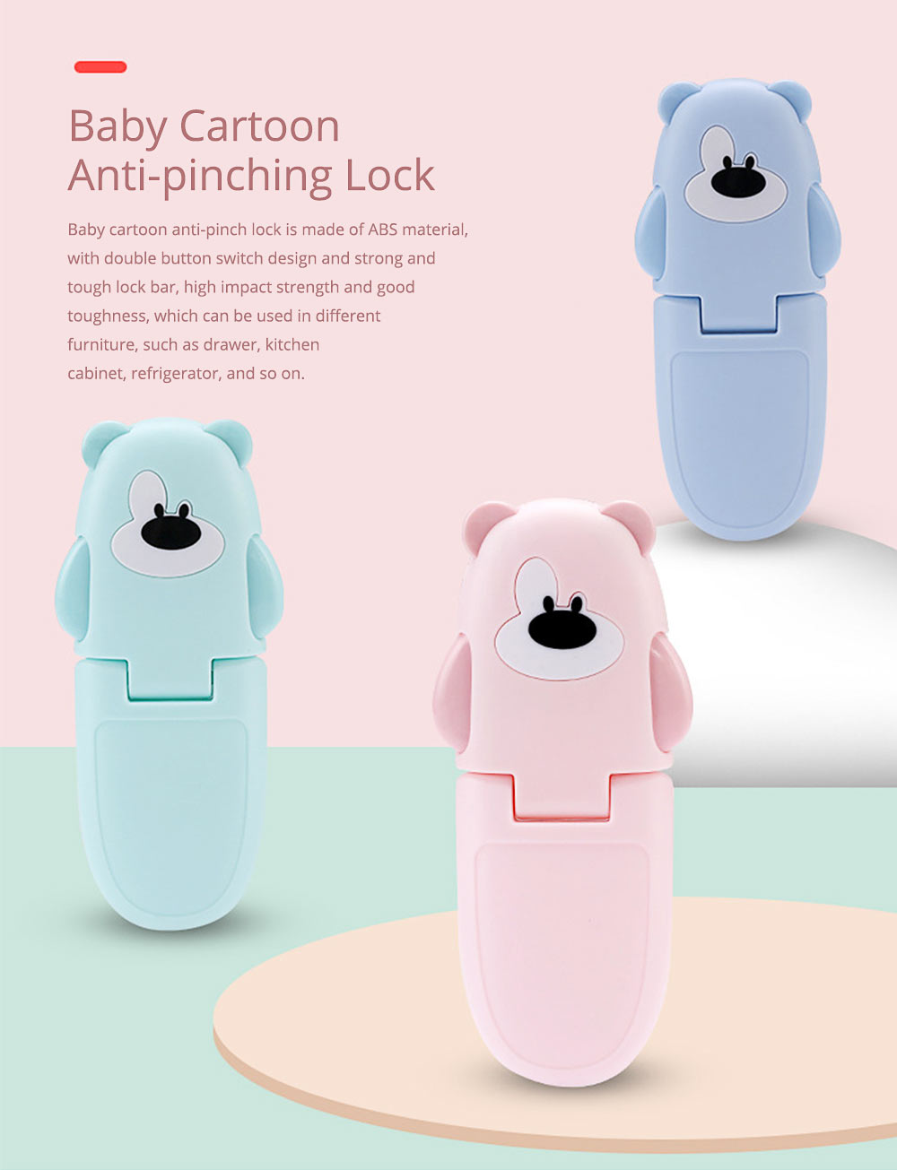 Baby Cartoon Anti-pinching Lock, Multifunctional Safety Lock with Double Button Switch Design 0