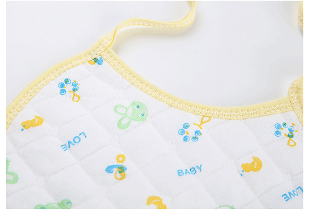 10 PCS Cartoon Baby Bib, Baby Ecological Cotton Fabric Bib With Adjustable Band 2