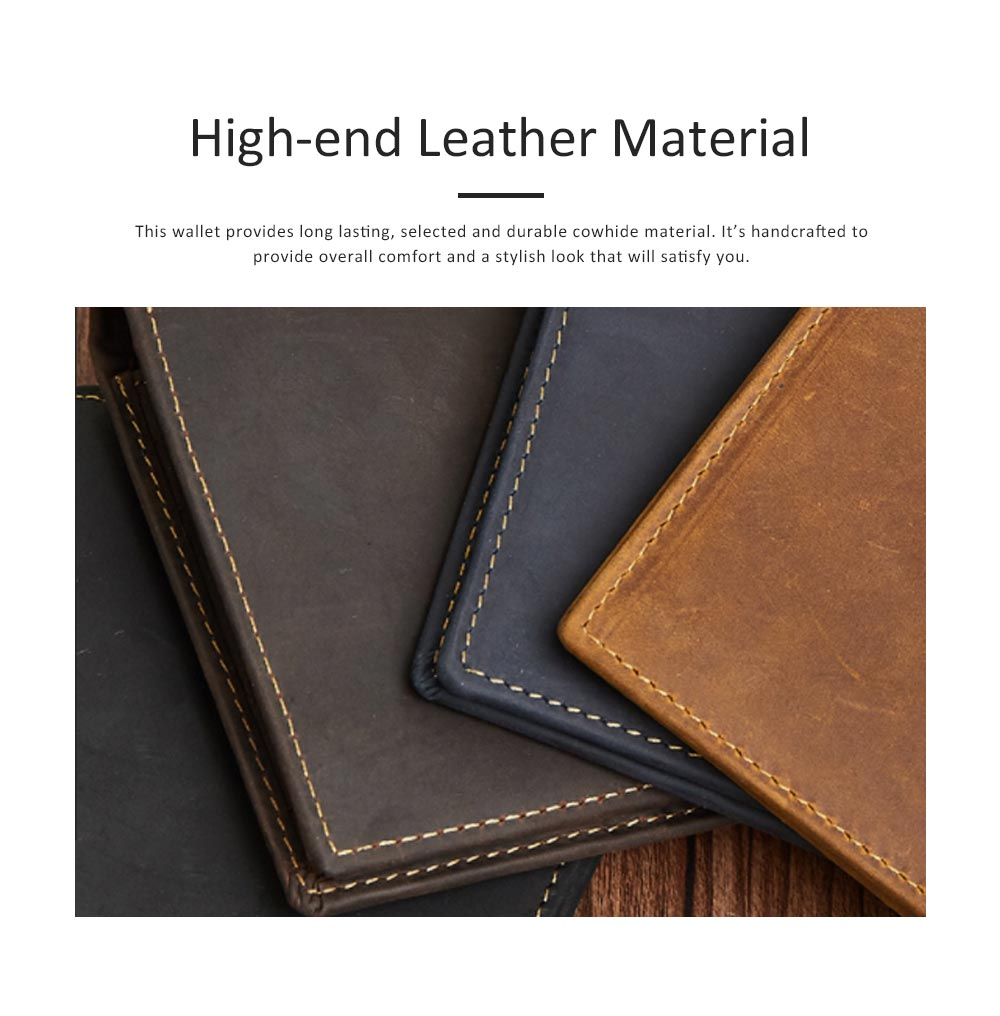 Men's Leather Short Wallet with RFID, Wear-resistant Fashion Casual Purse with Multi-cards 9