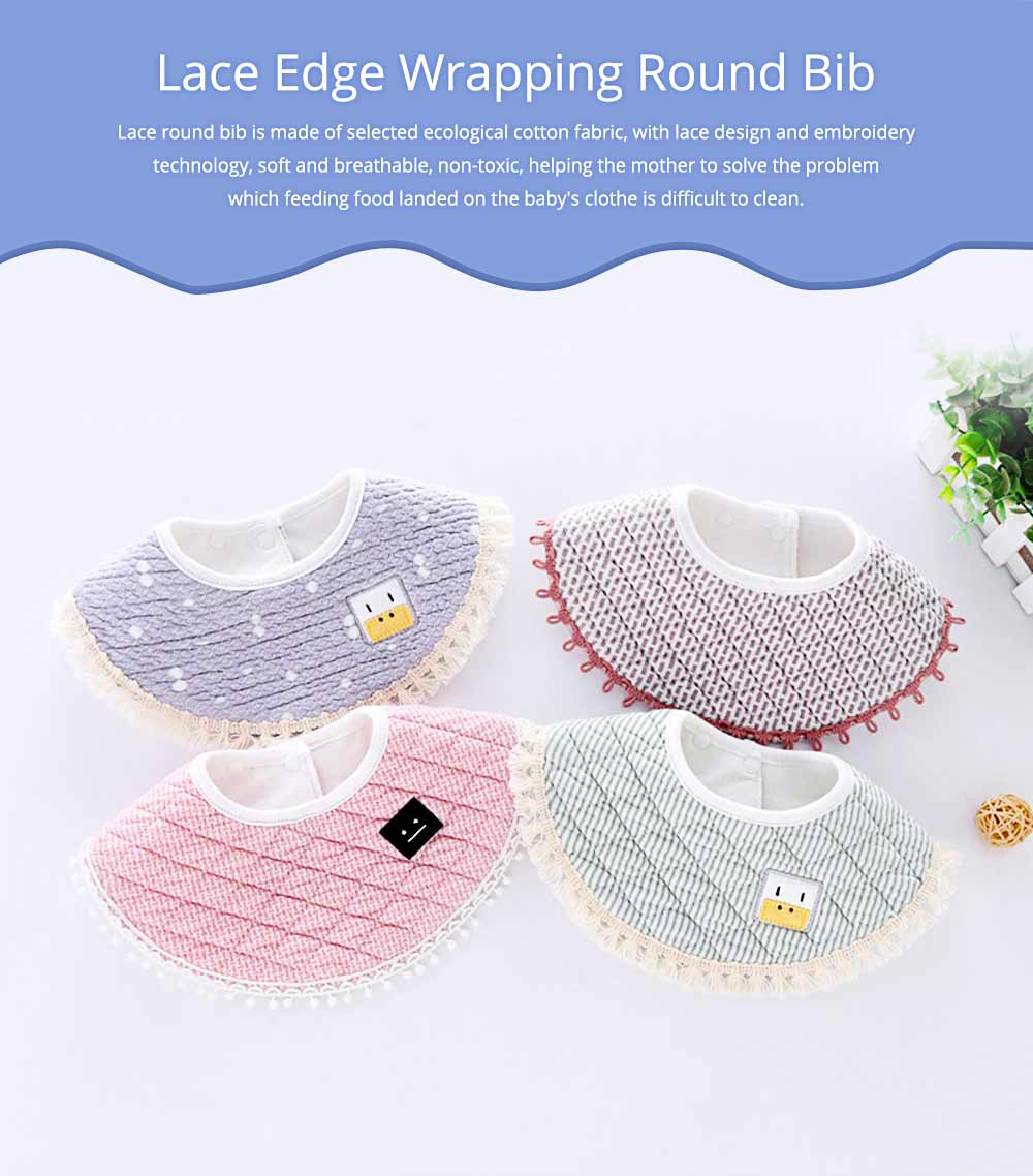 Breathing Baby bibs, Fine Lace Edge Cloth Baby Bib, Wrapping Round Bib 0