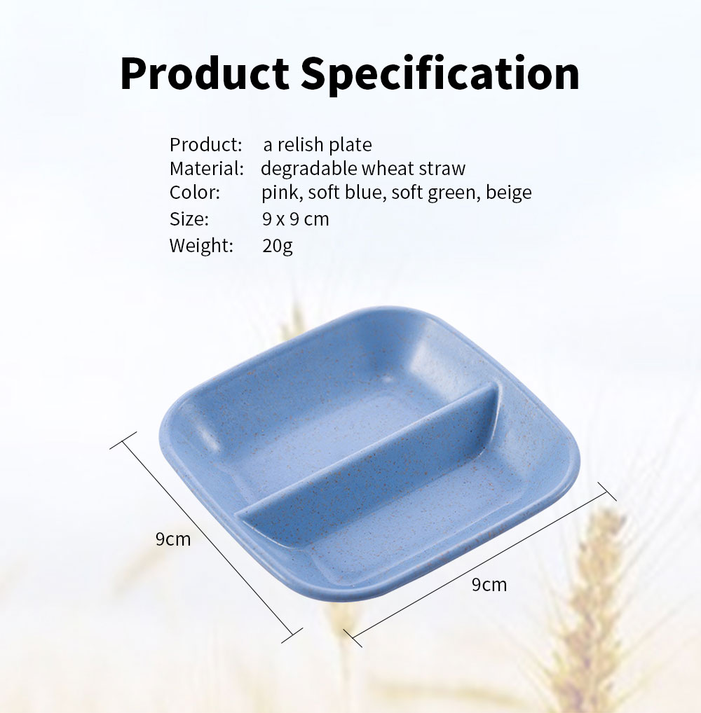 10 PCS Relish Tray Serving Dish With 2 Compartments, Creative Wheat Straw Relish Plate 6