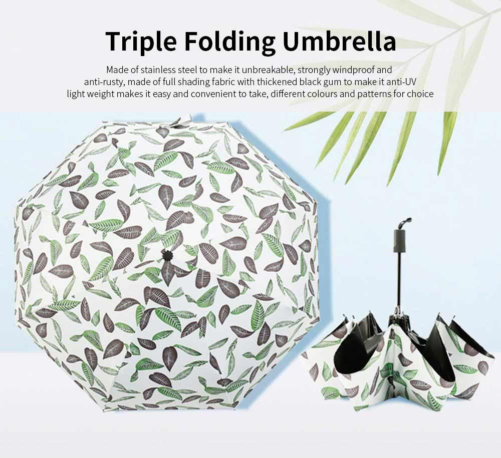 Anti-UV Sun Umbrella with Black Gum, Triple Folding Umbrella With Strong Windproof 0
