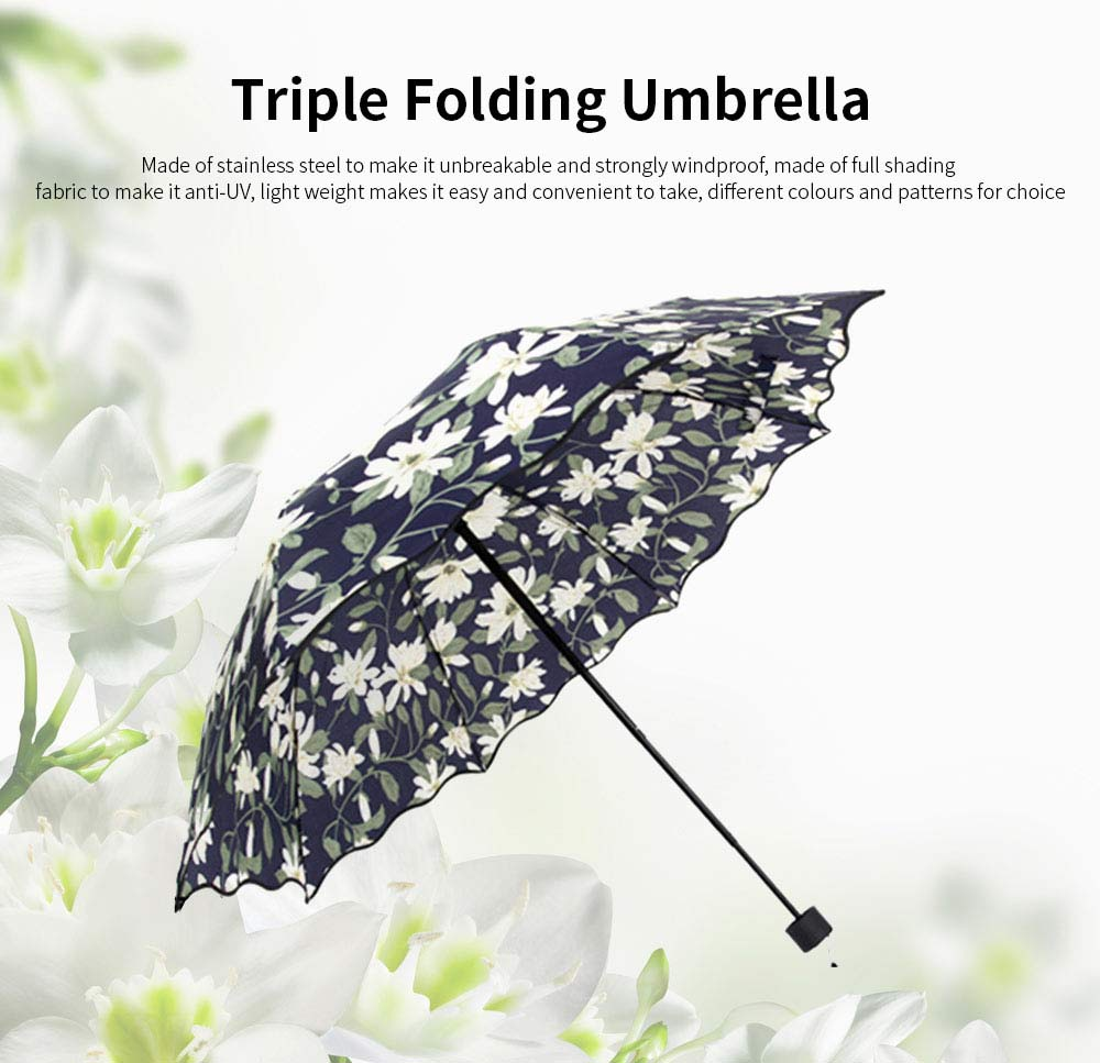 Triple Folding Windproof Travel Umbrella, Anti-Uv Sun Classic Tender Lily Umbrella 0