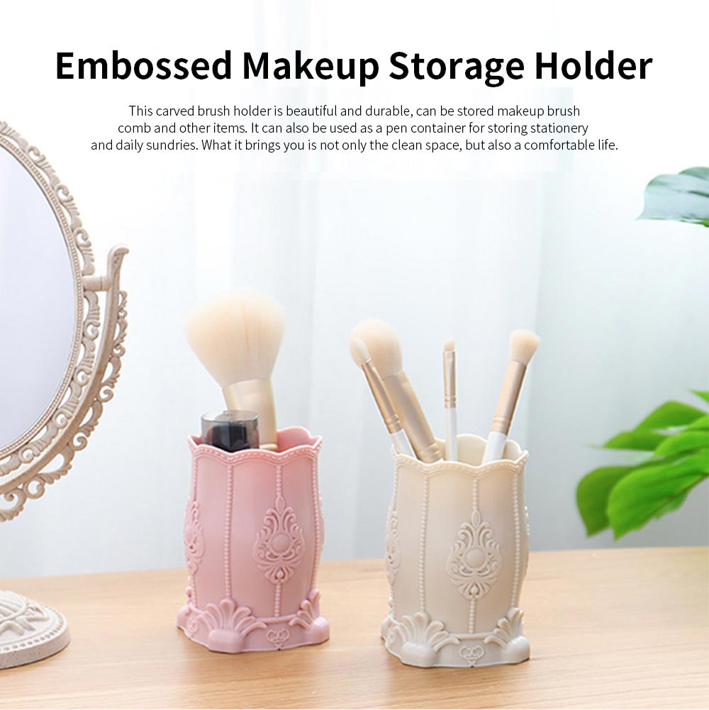 Embossed Makeup Storage Holder, Eyebrow Brush Container Makeup Tools Organizer Cosmetic Brush Holder for Women 0