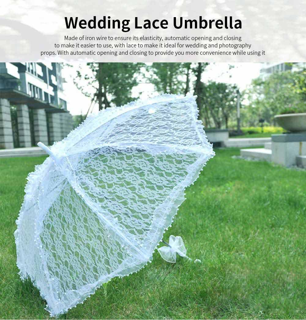 Automatic Wedding Umbrella with Wooden Handle, White Lace Decoration Umbrella, Costume Accessory Wedding Parasol 0