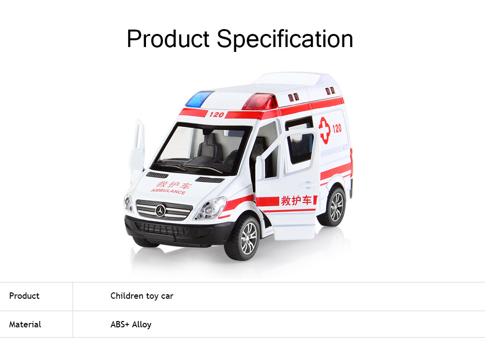 Simulation Children's Toy Car, Toy Ambulance, Police Car, Pull Back Car 5