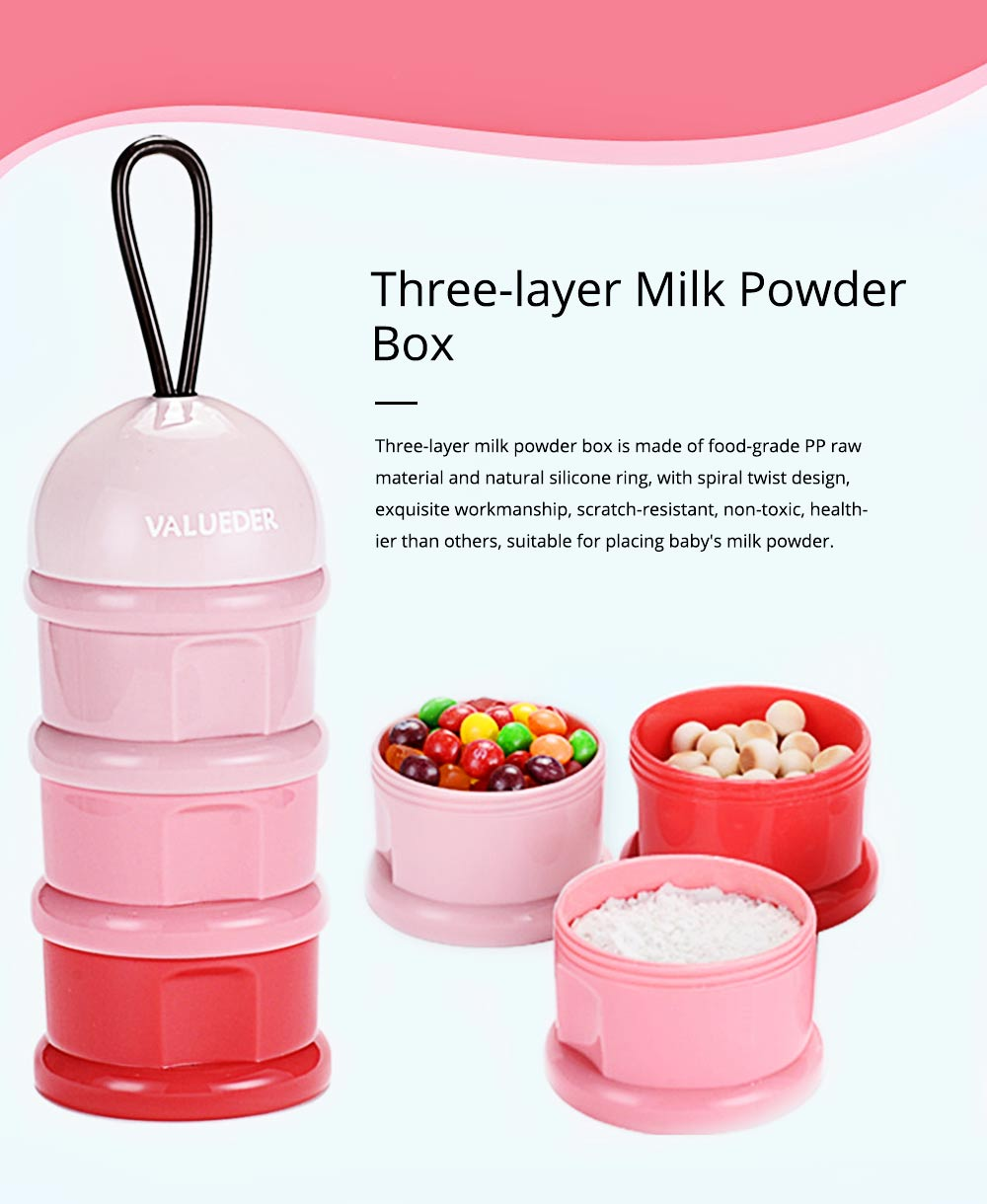 Baby Portable 3-layer Milk Powder Box with Wristband and Spiral Twist Design 0