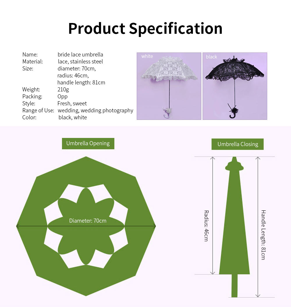 Wedding Lace Parasol Umbrellas, Wedding Decoration Umbrella With Wooden Handle 5